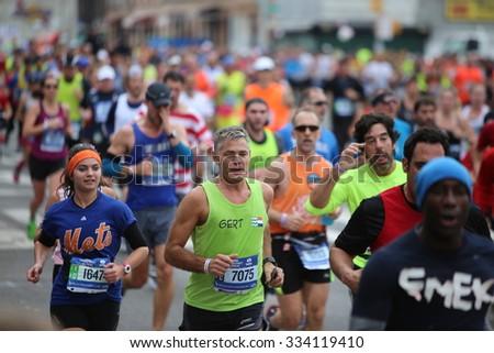 NEW YORK CITY - NOVEMBER 1 2015: The 45th annual TCS New York City marathon, organized by the New York Road Runners Club, drew 50,530 finishers, - stock photo