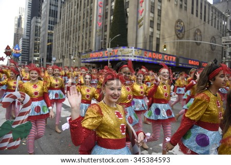 NEW YORK CITY - NOVEMBER 26 2015: The 89th Macy's Thanksgiving Day parade attracted hundreds of thousands of spectators in spite of threats of possible terrorist action. Spirit of America Dance Stars