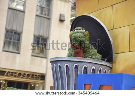 NEW YORK CITY - NOVEMBER 26 2015: The 89th Macy's Thanksgiving Day parade attracted hundreds of thousands of spectators in spite of threats of possible terrorist action. Sesame Street float - stock photo