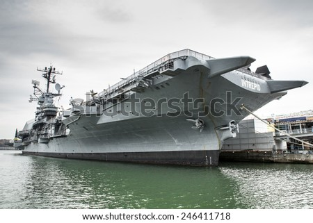 NEW YORK CITY - NOVEMBER 16, 2014:  View of USS Intrepid Sea, Air and Space Museum docked in New York City. - stock photo