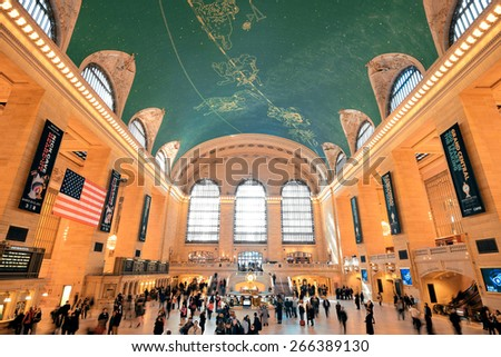 NEW YORK CITY, NY - AUG 8: Grand Central interior on August 8, 2014 in Manhattan, New York City. It is the second busiest station of the New York City Subway system with 42M passengers.  - stock photo