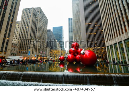 NEW YORK CITY, NY - DECEMBER 30, 2016 - Some Christmas decorations in the center of New York City