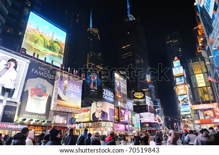 NEW YORK CITY, NY - JAN 30: Times Square is featured with Broadway Theaters and animated LED signs as a symbol of New York City and the United States,  January 30, 2009 in Manhattan, New York City.