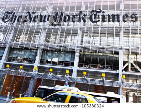 NEW YORK CITY, NY - JUNE 3: Famous newspaper, The New York Times Building on June 3rd, 2012, New York, NY. - stock photo