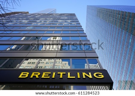 breitling outlet store 568i  NEW YORK CITY, NY -2 MAR 2017- A Breitling store in New York