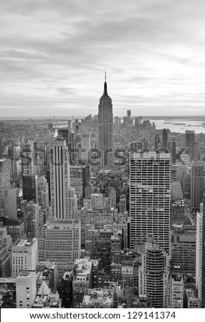 NEW YORK CITY, NY - NOV 19: Empire State Building closeup on November 19, 2011 in New York City. Empire State Building is a 102-story landmark and was world's tallest building for more than 40 years. - stock photo
