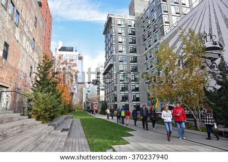 New York City, NY - NOV: The High Line Park in the Chelsea district of New York City on November 15, 2015 is a destination for friends and families to enjoy the outdoors.