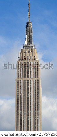 NEW YORK CITY, NY - OCT 29: Details of the Empire State Building on oct. 29, 2013 in New York City. Empire State Building is a 102-story landmarnd was world's tallest building for more than 40 years - stock photo