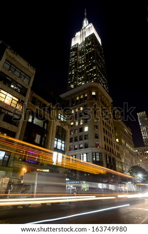 NEW YORK CITY, NY - OCT 29: Empire State Building at night on oct. 29, 2013 in New York City. Empire State Building is a 102-story landmarnd was world's tallest building for more than 40 years - stock photo