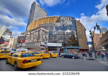 NEW YORK CITY, NY OCT 3: Madison Square Garden is an indoor arena that sits above Penn Station. It is home to the NY Knicks (NBA), NY Rangers (NHL) and NY Liberty (WNBA), oct 3rd, 2013 in NYC  - stock photo