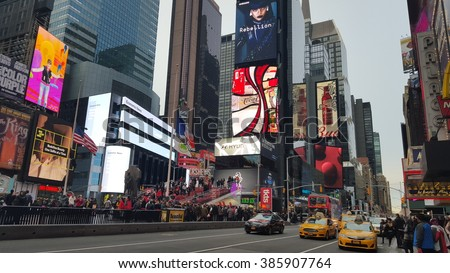 New York City, NY, USA - February 20, 2016: Times Square is one of the most famous places on Manhattan, New York City. Mobile photo.