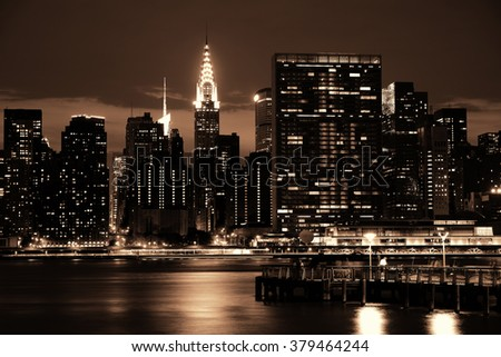 NEW YORK CITY, NY, USA - JUL 12: Chrysler Building at night on July 12, 2014 in Manhattan, New York City. It was designed by William Van Alena as Art Deco architecture and the famous landmark. - stock photo