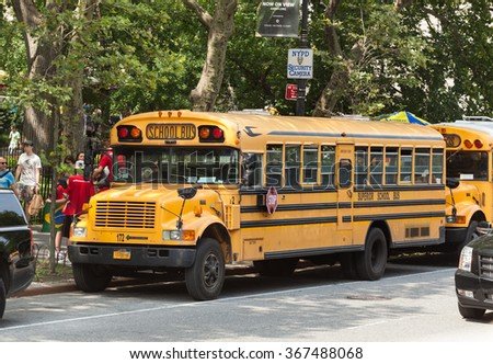 NEW YORK CITY, NY, USA - JULY 07, 2015: School bus in Manhattan. NYC has the largest school transportation department in the country. - stock photo