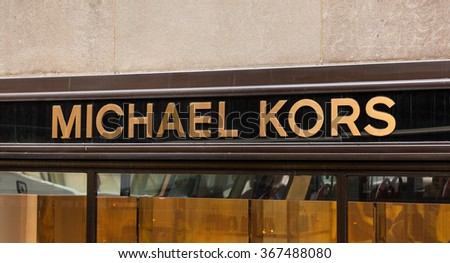 NEW YORK CITY, NY, USA - JULY 07, 2015: Sign of the store in Manhattan. Michael Kors is a New York City-based fashion designer widely known for designing classic American sportswear for women.