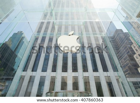 New York City, NY, USA - July 07, 2015: The Apple store, in a sunny summer day, located on the Fifth Avenue in Manhattan.