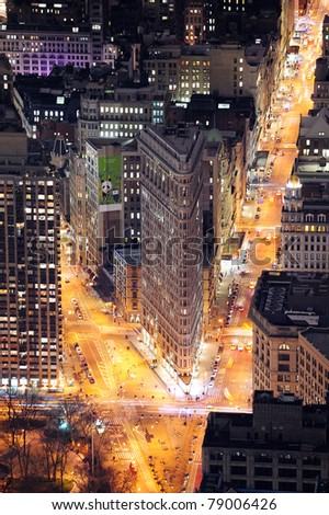 NEW YORK CITY, NY, USA - MAR 30: Flatiron Building was designed by Chicago's Daniel Burnham and was designated a New York City landmark in 1966. March 30, 2011 in Manhattan, New York City. - stock photo