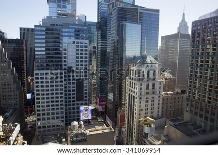 NEW YORK CITY, NY/USA - NOVEMBER 8: Skyscrapers in Manhattan on november 8 2015 in New York City as seen from other building. - stock photo