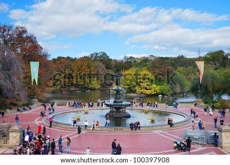 NEW YORK CITY - OCT 21: Central Park with visitors. It is a National Historic Landmark since 1963 and is the most visited urban park in the United States. October 21, 2010 in Manhattan, New York City. - stock photo
