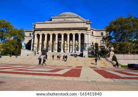 NEW YORK CITY-OCT 27: Columbia University Library and statue of Alma Mater, New York,NY,on Otc 27, 2014. It is the oldest institution of higher learning in the state of NY, the 5th oldest in the USA - stock photo