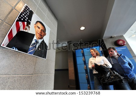 NEW YORK CITY - OCT 11:Poster of Barack Obama on Oct 11 2010.Barack Hussein Obama II is the 44th and current President of the United States, the first African American to hold the office. - stock photo