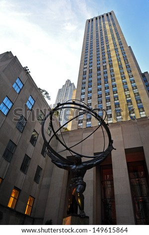 NEW YORK CITY - OCT 10:Rockefeller Center Atlas statue on October 10 2009. It was declared a National Historic Landmark in 1987 - stock photo