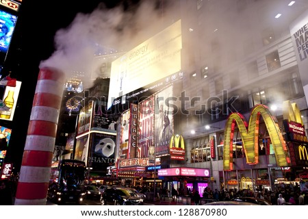 NEW YORK CITY - OCT 6: Times Square, featured with Broadway Theaters and animated LED signs, is a symbol of New York City and the United States, October 6th, 2011 in New York City, New York - stock photo