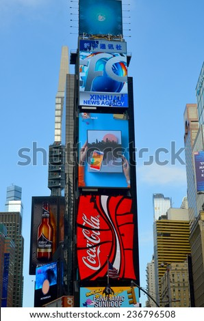 NEW YORK CITY - OCT 25: Times Square, featured with Broadway Theaters and huge number of LED signs, is a symbol of New York City and the United States, Oct. 25, 2013 in Manhattan, New York City  - stock photo