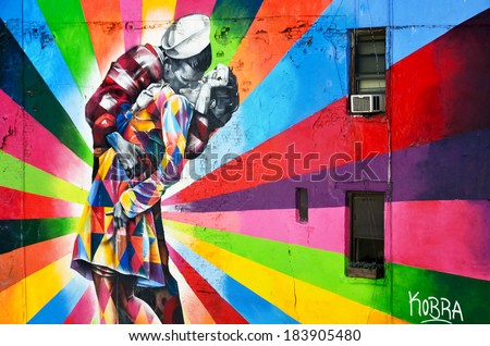 NEW YORK CITY - OCTOBER 12: A Mural by artist Brazilian artist Kobra October 12, 2014 in New York, NY. The colorful mural is based on Alfred Eisenstaedt's photo from V-J Day in Times Square. - stock photo