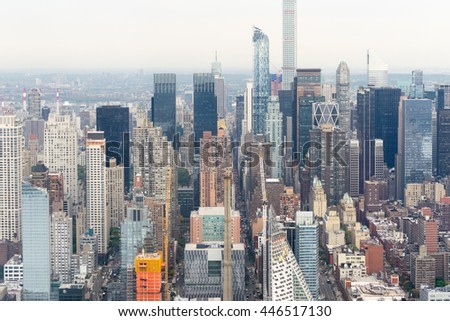 NEW YORK CITY - OCTOBER 22, 2015: Aerial view of city skyline. NYC is visited by 50 million tourists annually.