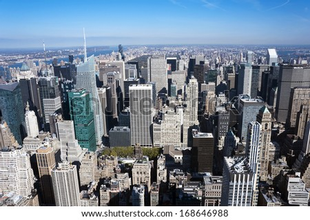 NEW YORK CITY-OCTOBER 28: Aerial view of Manhattan New York City on October 28, 2013.Manhattan is the most densely populated and the oldest of the five boroughs of New York City. - stock photo