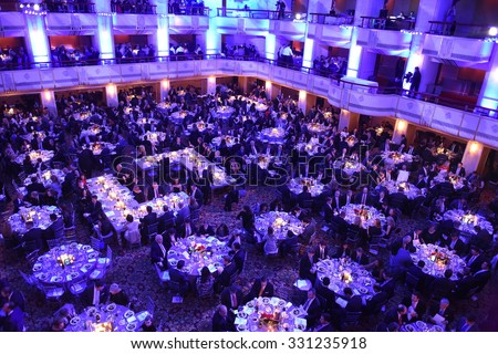 NEW YORK CITY - OCTOBER 22 2015: Answer The Call staged its 30th annual gala benefit at the Waldorf-Astoria in Manhattan. Banquet room the Waldorf-Astoria - stock photo
