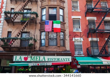 NEW YORK CITY-OCTOBER 09,2015: building in Little Italy, that is a neighborhood in lower Manhattan once known for its large population of Italians, today exists only a few Italian stores n restaurants