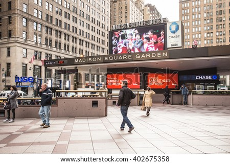 NEW YORK CITY - OCTOBER 25, 2013: Exterior view of Madison Square Garden in midtown Manhattan with people visible. - stock photo