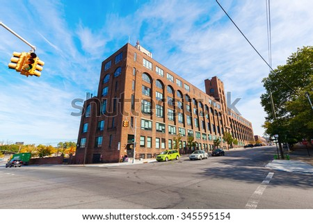 NEW YORK CITY - OCTOBER 11, 2015: historical American Banknote Company in Hunts Point, Bronx. It was founded in 1858 as a merger of several engraving and printing firms.  - stock photo