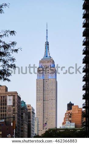NEW YORK CITY - OCTOBER 7, 2014: Illuminated Empire State Building seen from the  E22nd Street and Broadway
