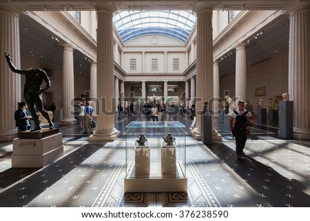 NEW YORK CITY - OCTOBER 07, 2015: inside of the Metropolitan Museum of Art with unidentified people. It is the largest art museum in the US and among the most visited art museums in the world - stock photo