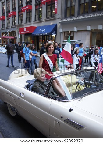 NEW YORK CITY - OCTOBER 11: Miss New York, Claire Buffie, at the Columbus Day Parade on Fifth Avenue on October 11, 2010 in New York City.