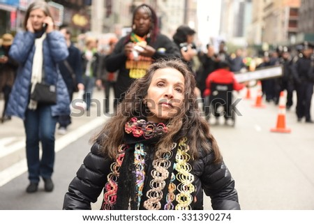 NEW YORK CITY - OCTOBER 24 2015: More than one thousand activists marched on behalf of the families of victims of alleged police brutality in RiseUpOctober.