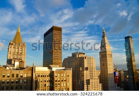 New York City - October 5, 2015: New York City Manhattan midtown view, New York City, USA. - stock photo