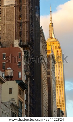 New York City - October 5, 2015: New York City Manhattan midtown view with the Empire State Building, New York City, USA. - stock photo