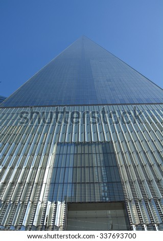 NEW YORK CITY - OCTOBER 14, 2014: One World Trade Center in Lower Manhattan. It is the fifth-tallest skyscraper in the world
