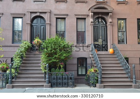 NEW YORK CITY - October 21, 2015: SoHo buildings in West Village, Manhattan, NYC, USA. - stock photo