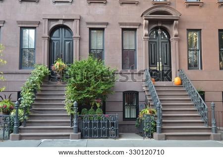 NEW YORK CITY - October 21, 2015: SoHo buildings in West Village, Manhattan, NYC, USA. - stock photo