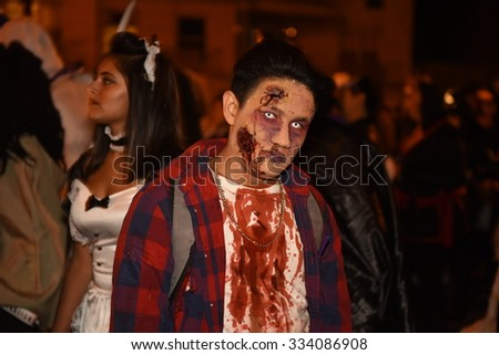 NEW YORK CITY - OCTOBER 29 2015: The 42nd annual Halloween parade filled 6th Avenue in the West Village with costumes, floats & weekend revelry