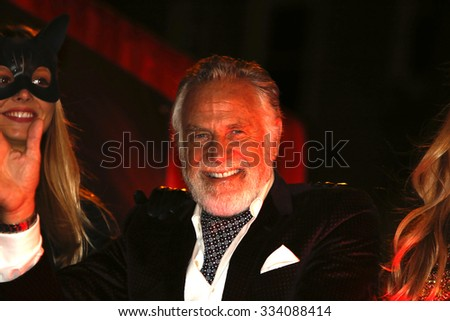 NEW YORK CITY - OCTOBER 29 2015: The 42nd annual Halloween parade filled 6th Avenue in the West Village with costumes & revelry. Grand Marshal Jonathan Goldsmith, the Most Interesting Man in the World - stock photo