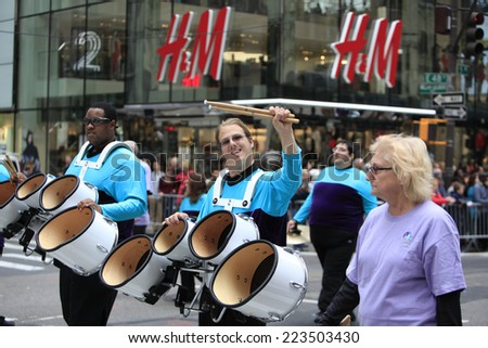 NEW YORK CITY - OCTOBER 13 2014: the 70th annual Columbus Day parade filled Fifth Avenue with thousands of marchers celebrating the pride of Italian heritage. Developmentally disabled band members - stock photo