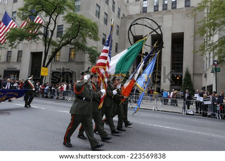 NEW YORK CITY - OCTOBER 13 2014: the 70th annual Columbus Day parade filled Fifth Avenue with thousands of marchers celebrating Italian-American pride.