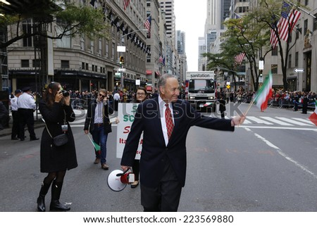 NEW YORK CITY - OCTOBER 13 2014: the 70th annual Columbus Day parade filled Fifth Avenue with thousands of marchers celebrating Italian-American pride. US Senator Charles Schumer