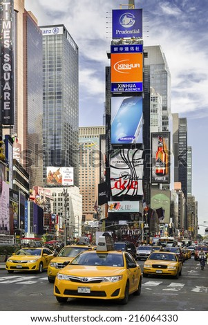 NEW YORK CITY - OCTOBER 14: Times Square, with Stores, advertisements  and Broadway theaters. October 14, 2013 in Manhattan, New York - stock photo