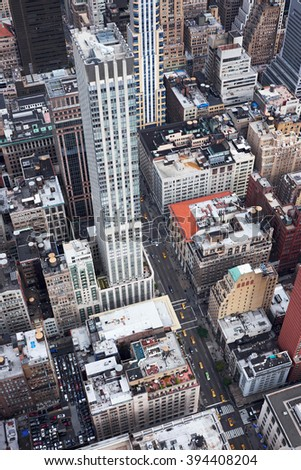 NEW YORK CITY - OCTOBER 9, 2014: view to the traffic on 5th Avenue from the top of Empire State Building - stock photo